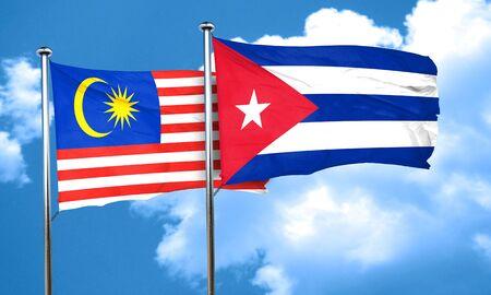 bandera cuba: bandera de Malasia con la bandera de Cuba, 3D Foto de archivo