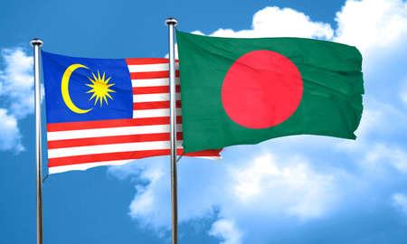 bangladesh: Malaysia flag with Bangladesh flag, 3D rendering Stock Photo