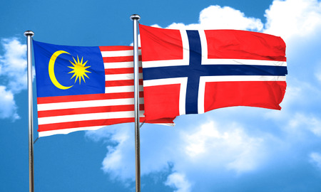 norway flag: Malaysia flag with Norway flag, 3D rendering Stock Photo