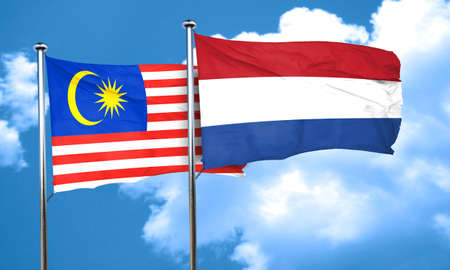 netherlands flag: Malaysia flag with Netherlands flag, 3D rendering Stock Photo