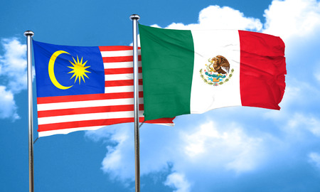 Malaysia flag with Mexico flag, 3D rendering Stock Photo