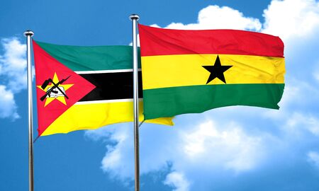 ghanese: Mozambique flag with Ghana flag, 3D rendering Stock Photo