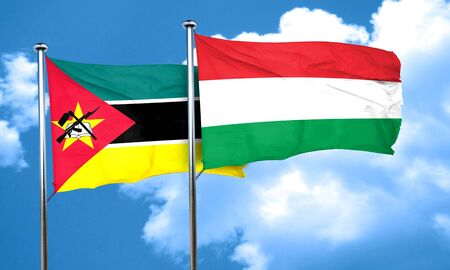 hungary: Mozambique flag with Hungary flag, 3D rendering Stock Photo