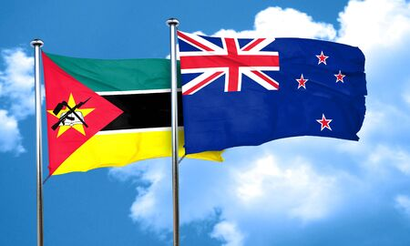 mozambique: Mozambique flag with New Zealand flag, 3D rendering Stock Photo