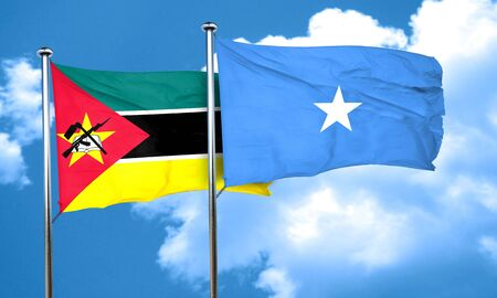 somalian flag: Mozambique flag with Somalia flag, 3D rendering