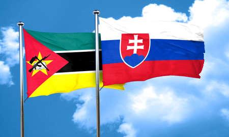 slovakia flag: Mozambique flag with Slovakia flag, 3D rendering