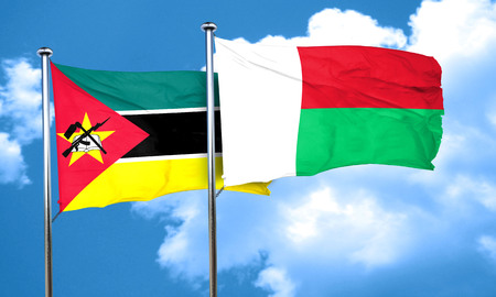 mozambique: Mozambique flag with Madagascar flag, 3D rendering Stock Photo