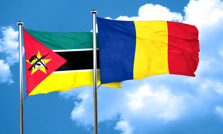 mozambique: Mozambique flag with Romania flag, 3D rendering