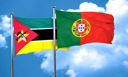 mozambique: Mozambique flag with Portugal flag, 3D rendering Stock Photo
