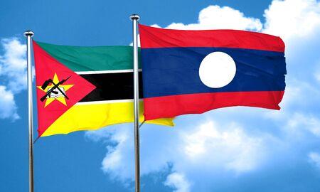 mozambique: Mozambique flag with Laos flag, 3D rendering