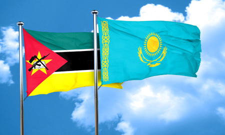 amity: Mozambique flag with Kazakhstan flag, 3D rendering Stock Photo