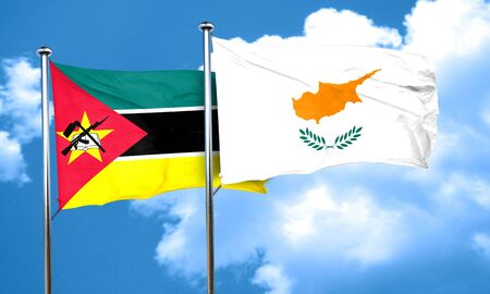 cyprus: Mozambique flag with Cyprus flag, 3D rendering