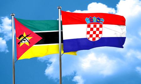 croatia flag: Mozambique flag with Croatia flag, 3D rendering