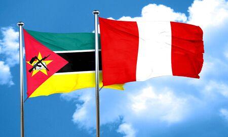 bandera de peru: bandera de Mozambique con la bandera de Perú, 3D