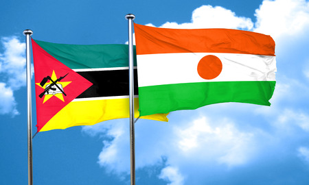 niger: Mozambique flag with Niger flag, 3D rendering