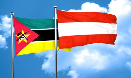 mozambique: Mozambique flag with Austria flag, 3D rendering Stock Photo