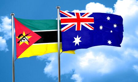 mozambique: Mozambique flag with Australia flag, 3D rendering
