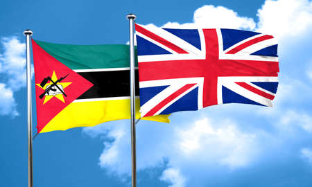 britain flag: Mozambique flag with Great Britain flag, 3D rendering