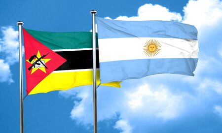 argentine: Mozambique flag with Argentine flag, 3D rendering Stock Photo