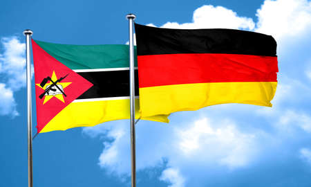 mozambique: Mozambique flag with Germany flag, 3D rendering