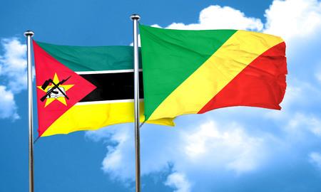 Congo: Mozambique flag with congo flag, 3D rendering