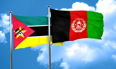 afghanistan flag: Mozambique flag with afghanistan flag, 3D rendering Stock Photo