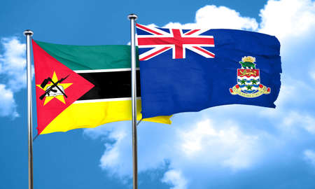 amity: Mozambique flag with Cayman islands flag, 3D rendering