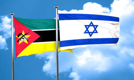 israel flag: Mozambique flag with Israel flag, 3D rendering Stock Photo