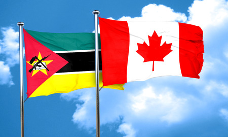 mozambique: Mozambique flag with Canada flag, 3D rendering