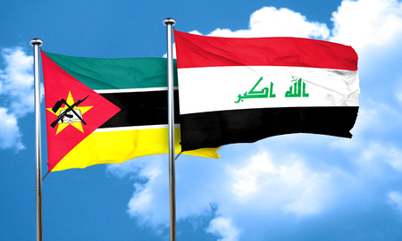 iraq flag: Mozambique flag with Iraq flag, 3D rendering