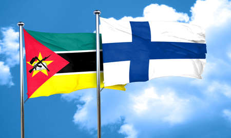 FINLAND flag: Mozambique flag with Finland flag, 3D rendering