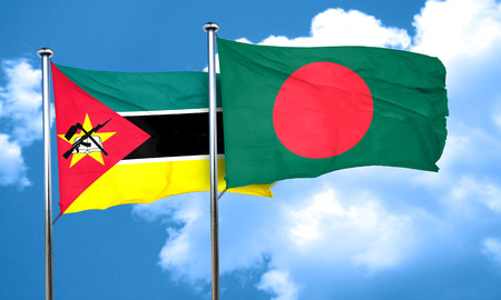 mozambique: Mozambique flag with Bangladesh flag, 3D rendering