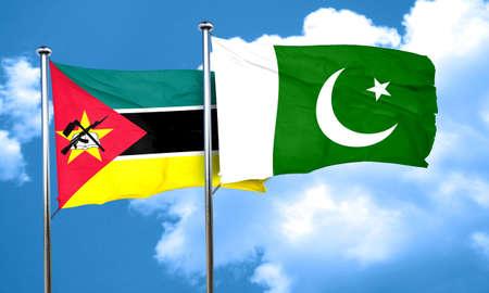 pakistan flag: Mozambique flag with Pakistan flag, 3D rendering