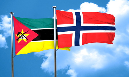 norway flag: Mozambique flag with Norway flag, 3D rendering Stock Photo