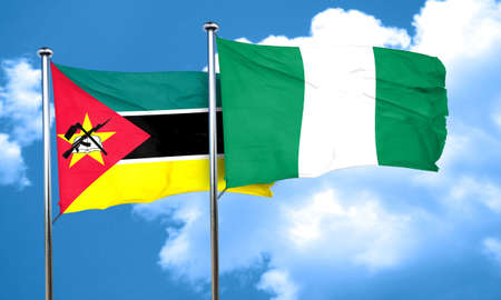 mozambique: Mozambique flag with Nigeria flag, 3D rendering