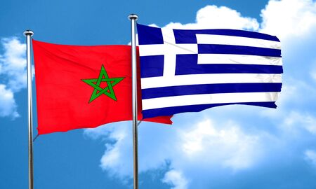 greece flag: Morocco flag with Greece flag, 3D rendering