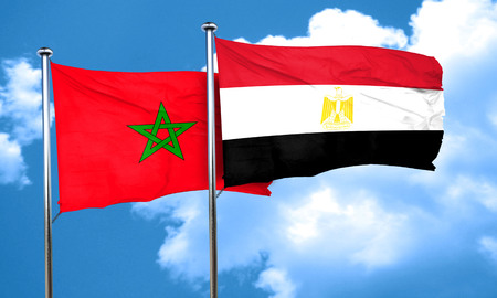 amity: Morocco flag with egypt flag, 3D rendering Stock Photo