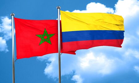 colombia flag: Morocco flag with Colombia flag, 3D rendering