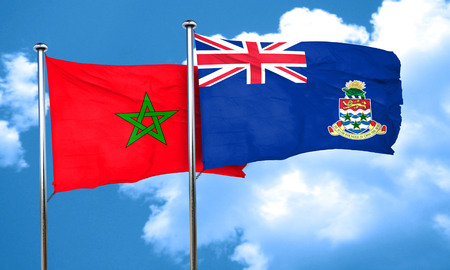 cayman: Morocco flag with Cayman islands flag, 3D rendering