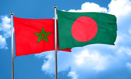 bangladesh: Morocco flag with Bangladesh flag, 3D rendering Stock Photo