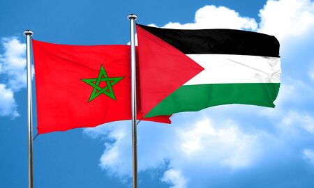 palestine: Morocco flag with Palestine flag, 3D rendering Stock Photo