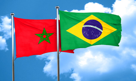 morocco: Morocco flag with Brazil flag, 3D rendering Stock Photo