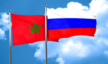 russia flag: Morocco flag with Russia flag, 3D rendering Stock Photo