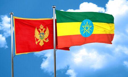 ethiopia flag: Montenegro flag with Ethiopia flag, 3D rendering Stock Photo
