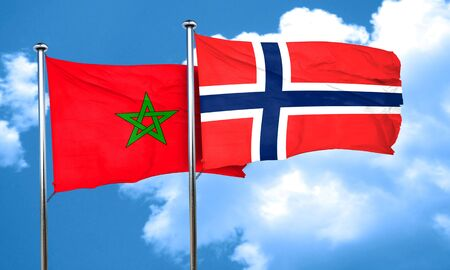 norway flag: Morocco flag with Norway flag, 3D rendering