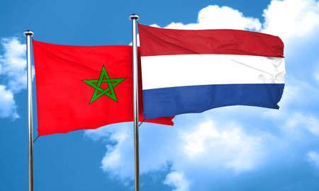 netherlands flag: Morocco flag with Netherlands flag, 3D rendering