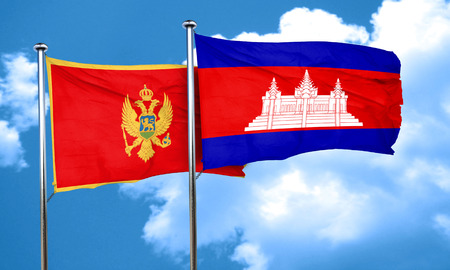 cambodian flag: Montenegro flag with Cambodia flag, 3D rendering Stock Photo