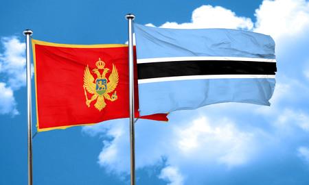 montenegro: Montenegro flag with Botswana flag, 3D rendering