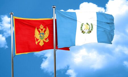 amity: Montenegro flag with Guatemala flag, 3D rendering