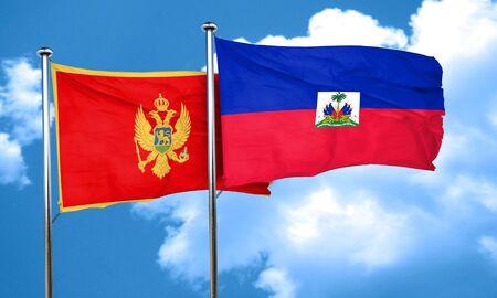 haiti: Montenegro flag with Haiti flag, 3D rendering